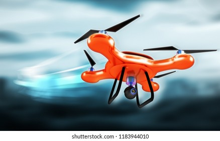 drone technology 3d rendering illustration