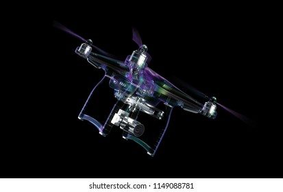 drone transparent in flight 3d illustration