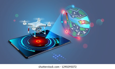 Drone with video camera flys on assigned route and transmit streaming fpv video on screen tablet. Navigation digital map of autonomous or wireless remoted drone