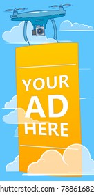 Drones with ads banner flying in sky. Multicopter advertising your business.  flat illustration