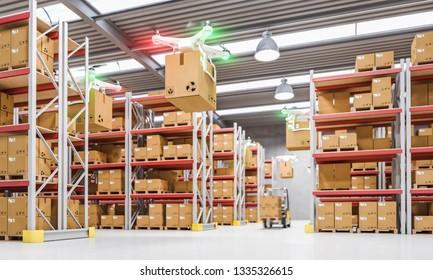 drones work in warehouse 3d rendering image