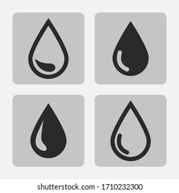 drop black icon set isolated on a on a gray background