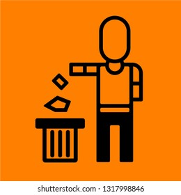 Drop the garbage into the trash bin sign isolated on orange background, Do not litter