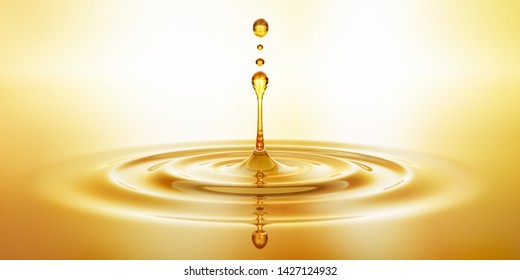Drop of golden oil  concept of wellness and beauty products - 3D illustration