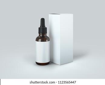 Dropper Bottle Mock-Up - Blank Label 3d Illustration
