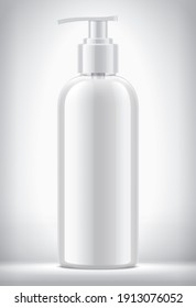 Dropper bottle on background with non-transparent liquid. 3d rendering