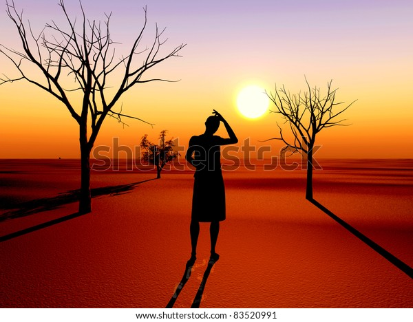 Drought as the result of global warming and climate changes with desperate woman in front