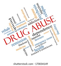 Drug Abuse Word Cloud Concept Angled with great terms such as addiction, heroin, disease, relapse and more.