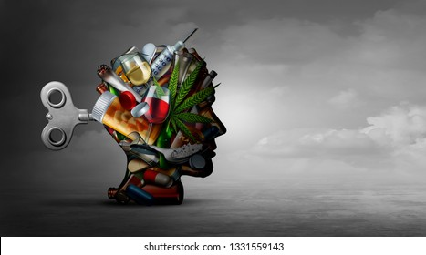 Drug addiction and mental function with the use of alcohol prescription drugs as a psychiatric or psychiatry effects on the brain with recreational or medication with 3D illustration elements.