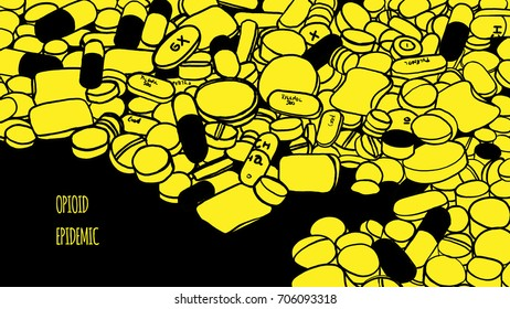 Drug epidemic. Illustration. Illustration about the mass consumption of drugs and analgesics by the population. The illustration shows drug pills and assorted painkillers on yellow flat background.