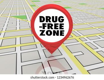Drug Free Zone No Addiction Abuse Map Pin 3d Illustration