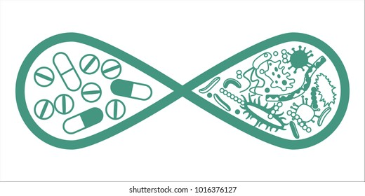 Drugs and bacteria in infinity symbol monochrome concept. Stock raster copy illustration of pills vs germs, superbug, antibiotics development for company identity in healthcare, medicine and biology.
