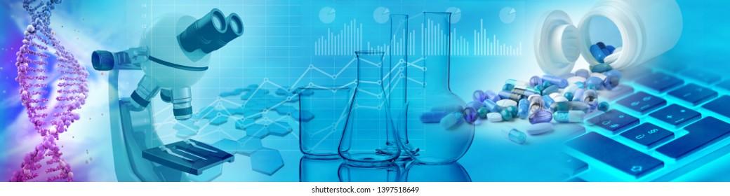 Drogen, chemische Brille, Mikroskop und DNA auf blauem Hintergrund, 3D-Illustration