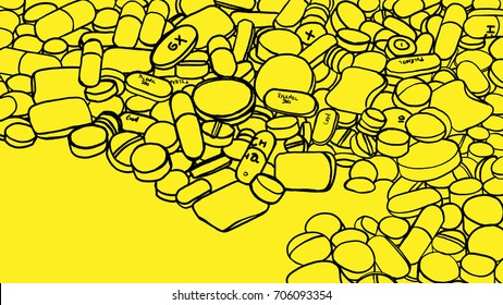 Drugs, pills and epidemic. Illustration. Illustration about the mass consumption of drugs and analgesics. Minimalist illustration shows drug pills and assorted painkillers on yellow flat background.