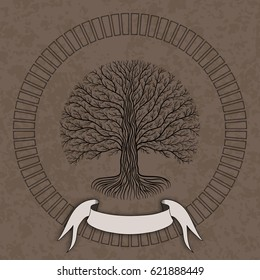 Druidic Yggdrasil tree at night, round silhouette, cream and brown grunge logo. Gothic ancient book style
