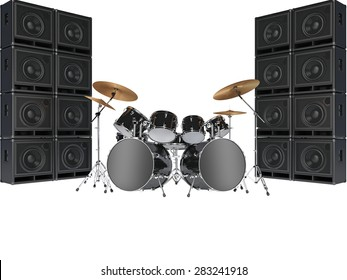 Drum kits and guitar amplifiers. Isolated on white background