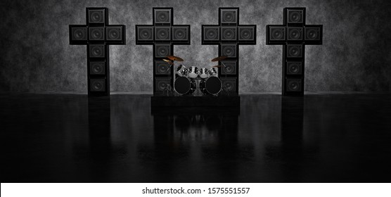Drum set on the background of four crosses consisting of guitar amps. 3D Render