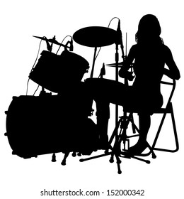 Drummer beating the drums on stage. Drum set. silhouette, vector.