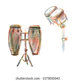 Drums different percussion instruments musicians play conga Bongos jembe tabla - freehand drawn illustration colored pencils