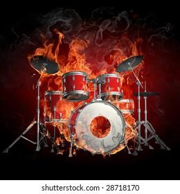 Imágenes, fotos de stock y vectores sobre Fire-drums