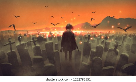 drunk man with a gun walking in a graveyard, digital art style, illustration painting