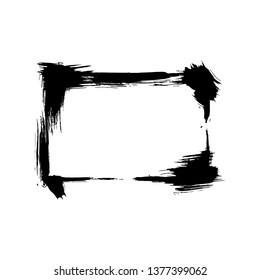 Dry brush frames. Hand drawn artistic frames. Grunge brush stroke frame for text, quote, advertising design. Black and white engraved ink art. Frame border ornament square.