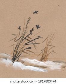 Dry grass in snowdrift and little birds, sumi-e