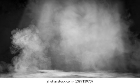Dry ice smoke clouds fog the floor texture. . Perfect spotlight mist effect on isolated background