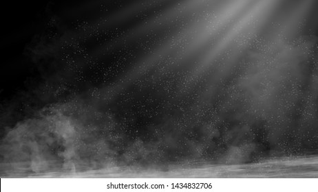 Dry ice smoke clouds fog floor texture.Perfect spotlight mist effect on isolated black background.