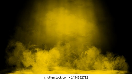 Dry ice smoke clouds fog floor texture. Perfect yellow spotlight mist effect on isolated black background.