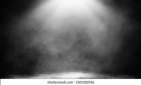 Dry ice smoke clouds fog floor texture.Perfect spotlight mist effect on isolated black background..