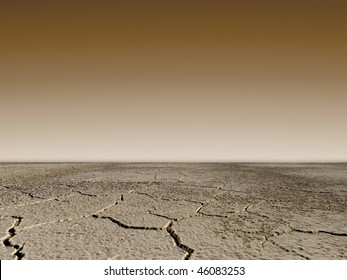 Dry landscape in sepia shades with cracks on the ground