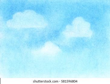 Dry pastel drawn blue sky background