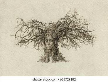 Dryad. Surreal humanoid creature with tree branches instead of hair.