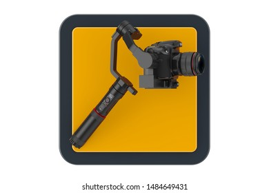 DSLR or Video Camera Gimbal Stabilization Tripod System Touchpoint Icon Button on a white background. 3d Rendering