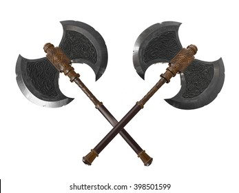 dual battle axes 3D rendering