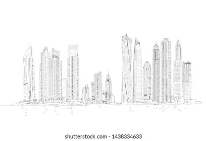 Dubai skyline, cityscape with skyscrapers. Detailed sketch, panoramic view