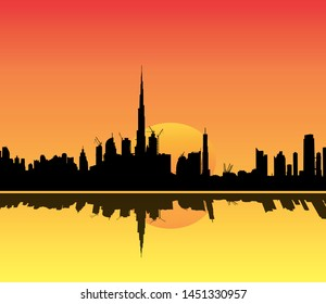 Dubai Skyline illustration at sunset with large sun behind the buildings and reflection