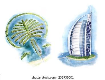 Dubai views illustration. Palm Jumeirah and a hotel Burj Al Arab. Made in watercolor
