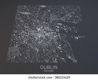 Dublin map, satellite view, city, Ireland