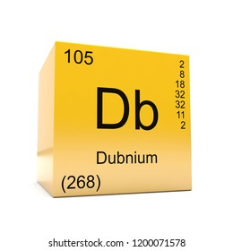 Dubnium chemical element symbol from the periodic table displayed on glossy yellow cube 3D render