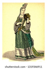 Duchess of Maine, vintage engraved illustration. 12th to 18th century Fashion By Image.