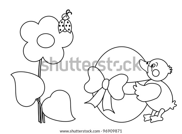 Duck Big Easter Egg Coloring Page Stock Illustration 96909871