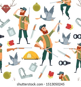 Duck hunters pattern. Seamless background with cartoon pictures and symbols of hunting