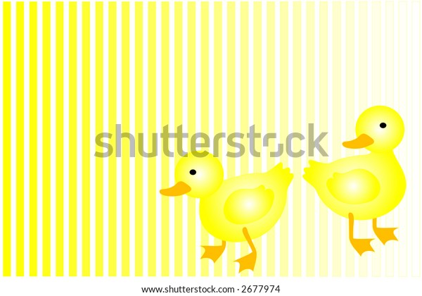 Ducks over yellow and white background.