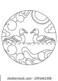 Ducks pattern. Illustration of duck. Mandala with an animal.  Duck in a circular frame. Coloring page for kids and adults.
