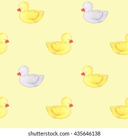 Ducks seamless pattern. Watercolor. Handmade drawing. Background