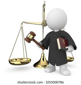 Dude 3D character the Judge holding Law book and hammer infront of the Scale of Justice.