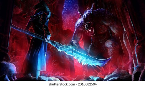 A duel between a huge werewolf monster with a toothy snout  and bloody eyes and a warrior in a jacket and hat with a magical huge jagged machete, in the middle of ancient Gothic ruins at night. 2d art