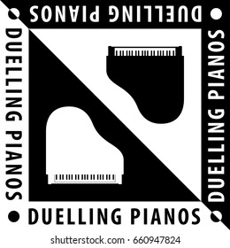 Duelling Pianos Logo Design Composition with Two Grand Pianos and Text - Black and White Elements on Reverse Background - Yin Yang Flat Graphic Illustration